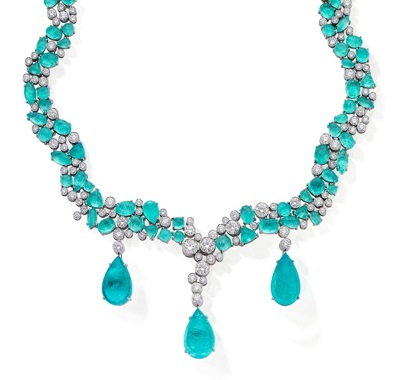 """Paraiba pear-shaped cabochon drop, 10.46 carats; 91 paraiba cabochons of 70.45 carats and 141 round diamonds of 18.52 carats; 16.5"""" length. Set in platinum. Shown with detachable paraiba pear- shaped cabochon and diamond earrings set in platinum."""