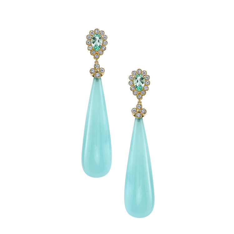 JUBILLE EARRINGS 18K Yellow gold earrings featuring 63.92 ctw. Blue Opal Drops with 1.67 ctw. of Tourmalines and 0.80 ctw. of Diamonds.