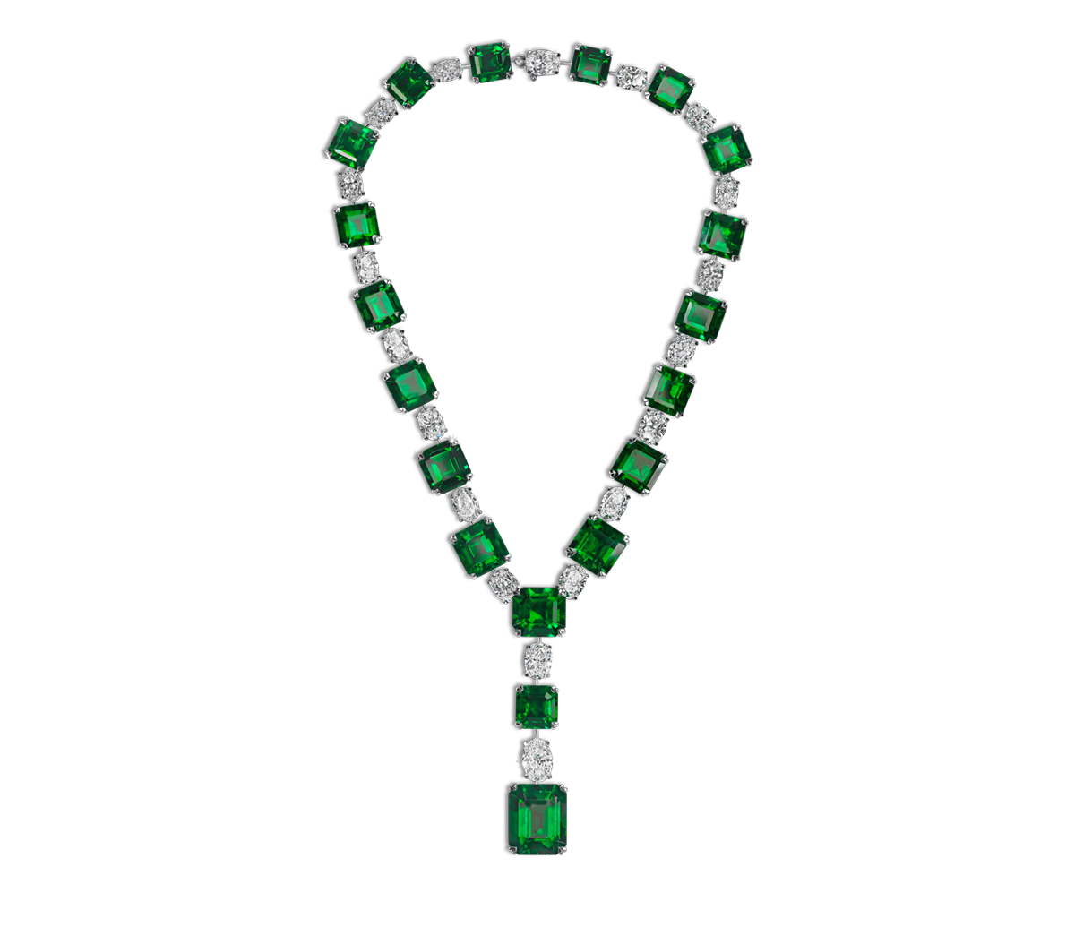 Important Colombian emerald necklace with white oval-cut diamonds Total emerald weight 160.59cts Total diamond weight 36.13cts