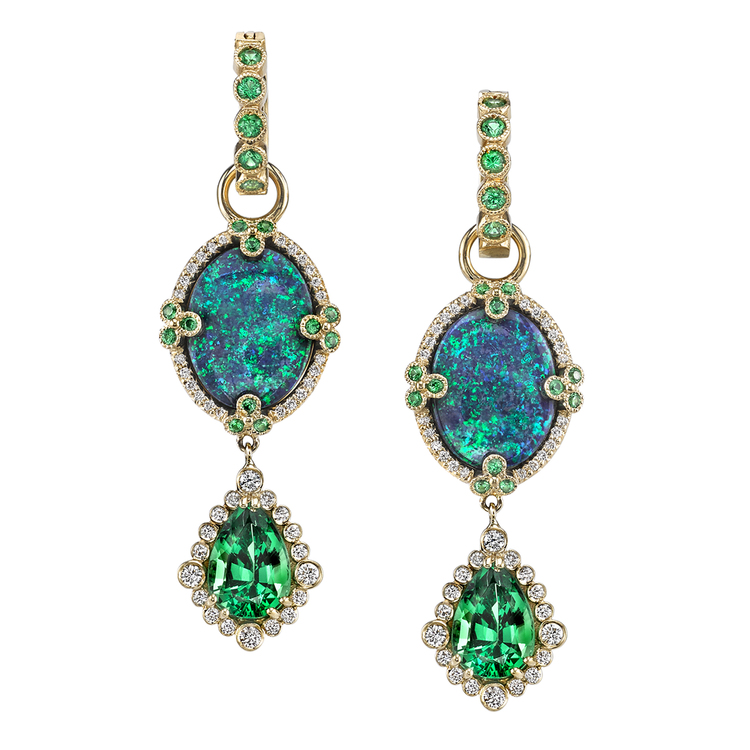 TSAVORITE EARRINGS 18K Yellow Gold earrings featuring 8.53 ctw. of Opal, 4.79 ctw. of Tsavorite, and .60 ctw. of Diamonds.