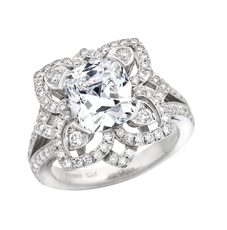 Forget me not cushion cut diamond and platinum ring
