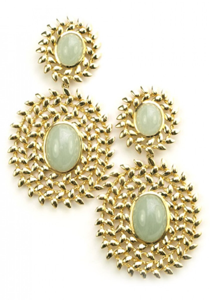 "Brazilian designer Amorim's beautiful earrings from her Angelica collection. These stunning earrings feature two cabochon aquamarine stones surrounded by circles of 18k yellow gold leaves. They hang 2"" long and feature a post and jumbo push back."