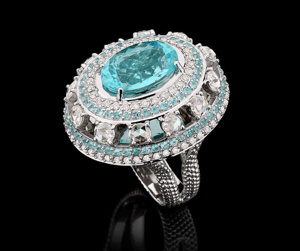 CARLA AMORIM Brazilian Jewelry Paraiba Ring with diamonds