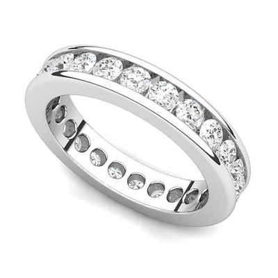 Channel Set Diamond Curved Edge Eternity Ring (1 1/2 ct.) 14K White Gold