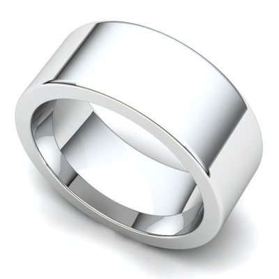 Flat Wedding Ring 8mm 14K White Gold