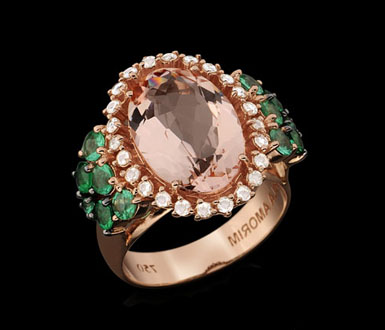 Ring Three Wishes rose gold with emerald, morganite and rose cut
