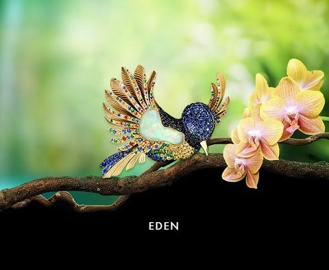 EDEN Many extraordinary and breathtaking creatures inhabit our Garden of Eden. Precious gemstones and metals make them all the more special. Perhaps you will decide to take one of these magical inhabitants of Eden home with you.