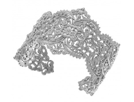 Sterling Silver, palladium plated Chantilly lace cuff