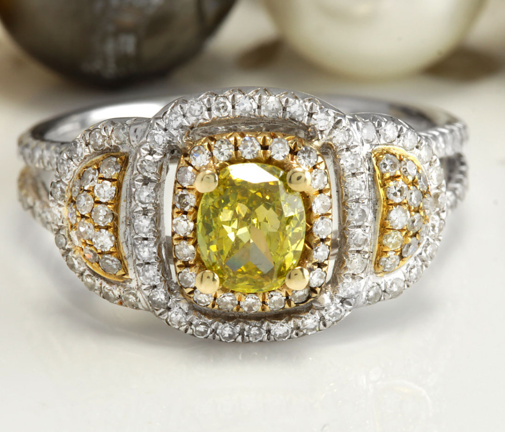 1.19CTW Estate Natural Fency Yellow Diamond & Damonds in 14K TwoTone Gold Ring