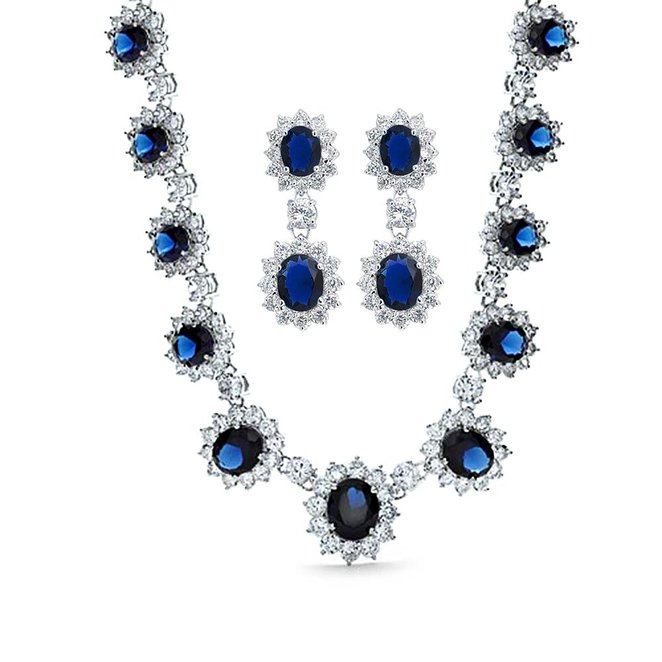 Bling Jewelry Simulated Sapphire CZ Bridal Necklace Earring Set Rhodium Plated