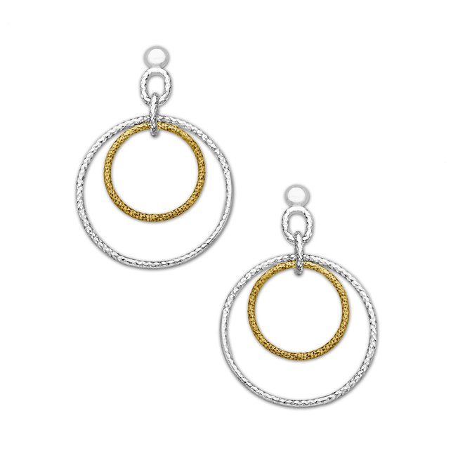 Drop Hoop Earrings in 18K Gold and Sterling Silver Plate