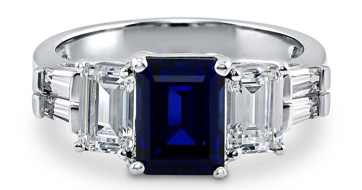 BERRICLE Sterling Silver Emerald Cut Simulated Blue Sapphire Cubic Zirconia CZ 3 Stone Ring