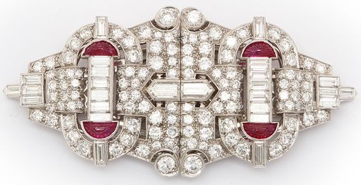 Gorgeous Diamond and Ruby Tiffany and Co. Brooch