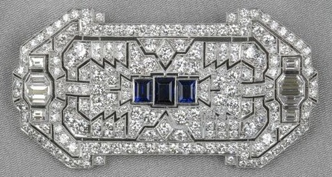 Art Deco Platinum, Sapphire, and Diamond Plaque Brooch, Marcus & Co.