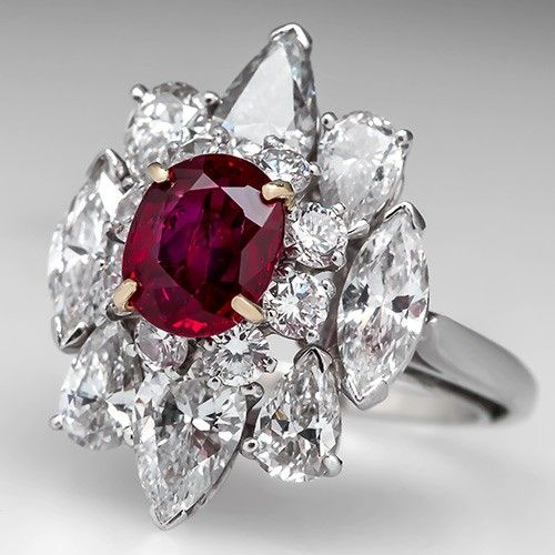 Van Cleef and Arpels Vintage Ruby Diamond Cocktail Ring Platinum Love the mix of shapes