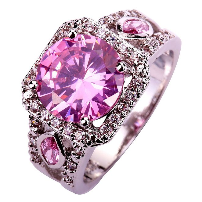 Silver Plated Pink Rhinestone Wedding Band Crystal Ring_