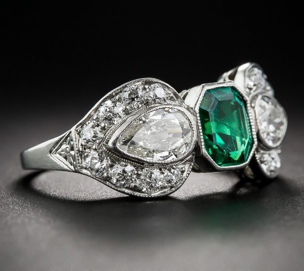 Next Art Deco Emerald and Diamond Ring