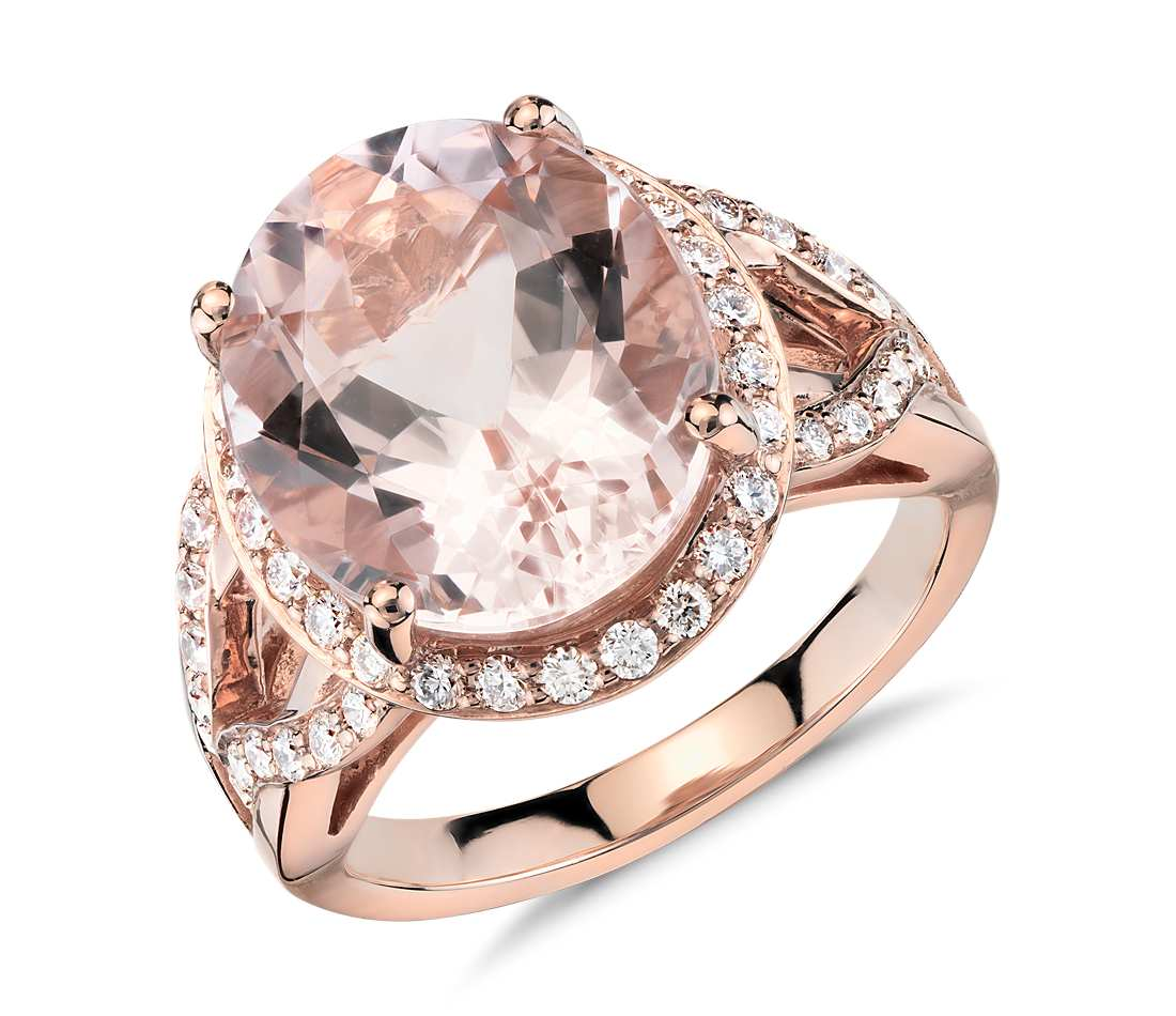engagement morganite ring carat diamond vintage h rose gold i