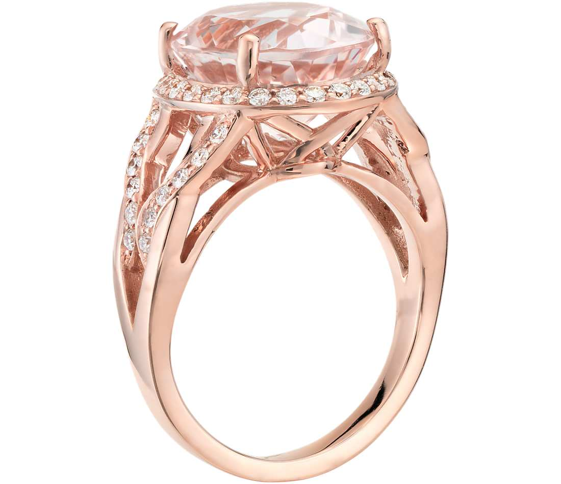 Morganite and Diamond Ring in 18k Rose Gold