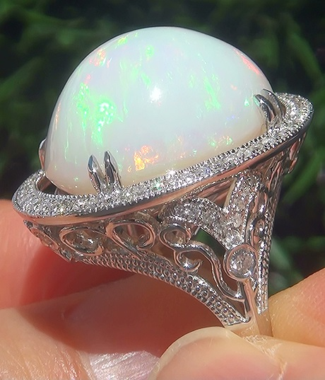 GIA 20.26 ct Natural Ethiopian Opal Diamond 14k White Gold Estate Cocktail Ring