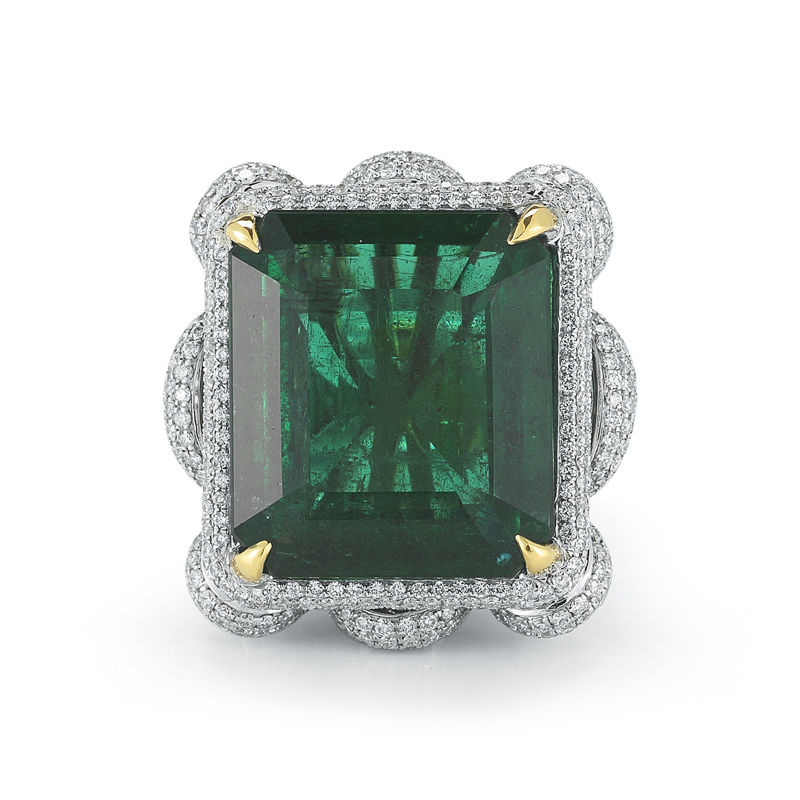 Designer Emerald and Diamond Ring. This Emerald is also GIA Certified.