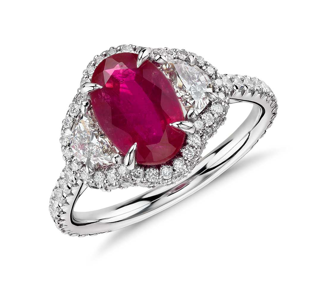 Angara Airline Set Ruby Solitaire Ring With Trio Diamonds in White Gold TDkwX5w