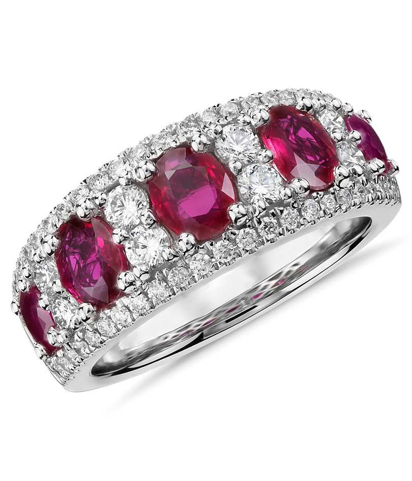 Ruby and Diamond Band in 14k White Gold (5x4mm)