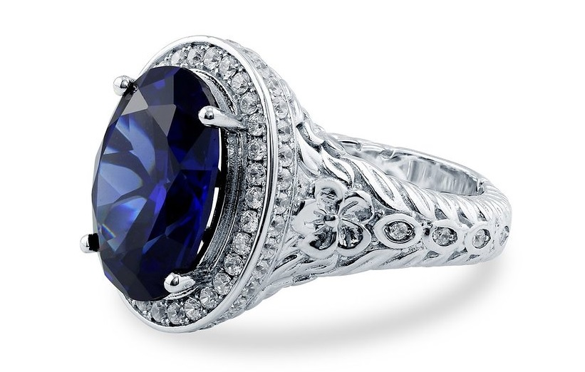 Sterling Silver 0.59 ct.tw Cubic Zirconia CZ Art Deco Filigree Fashion Right Hand Ring