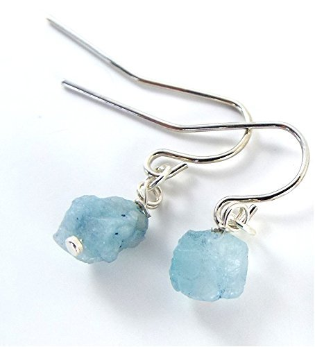 Raw Aquamarine Simple Earrings