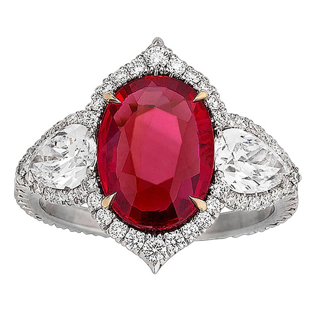 A Gorgeous Untreated Ruby and Diamond Ring 3.02 Carats.