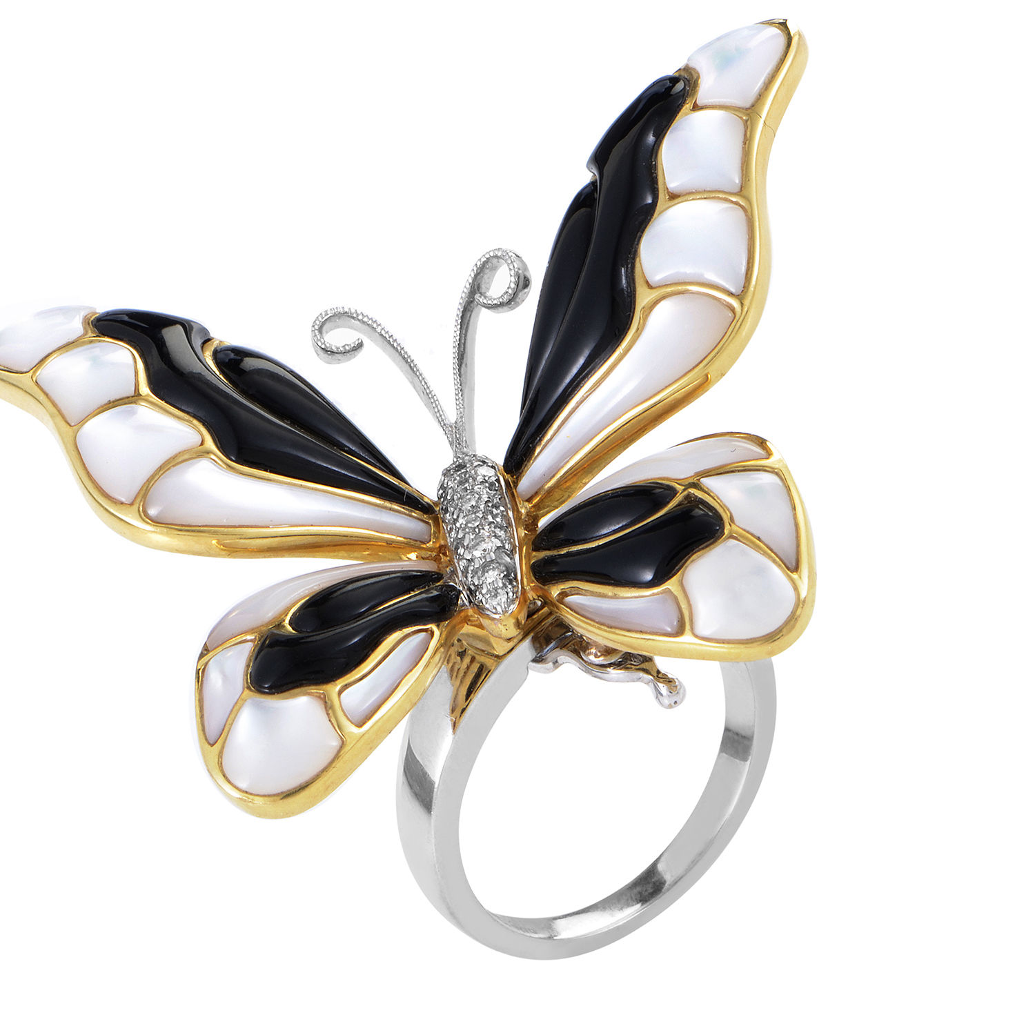 18K Multi-Tone Gold Diamond & Gemstone Butterfly Ring