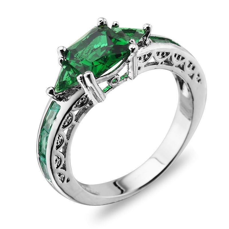 Fashion Wedding Emerald 925 silver Jewelry New rings size 6-10
