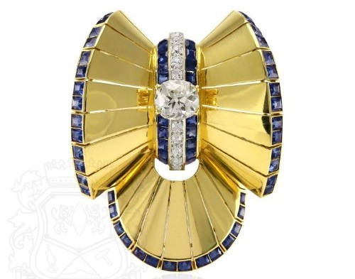 18K Yellow Gold, Diamond and Sapphire Clip Brooch, Van Cleef & Arpels, NY