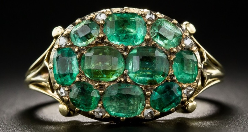 Victorian Emerald Cluster Ring