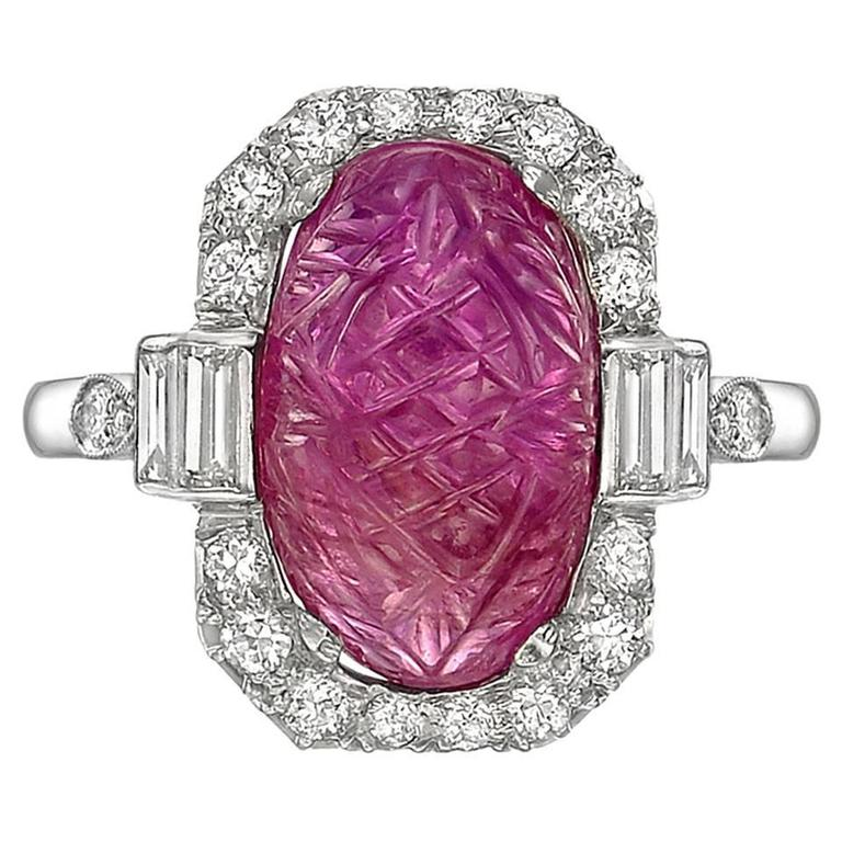 Art Deco Carved Ruby Diamond Ring. $11,000