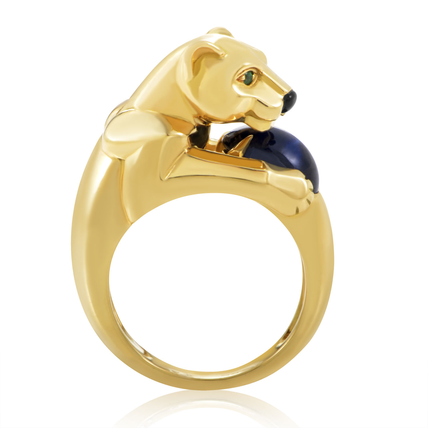 Cartier Panthere 18K Yellow Gold Sapphire Ring
