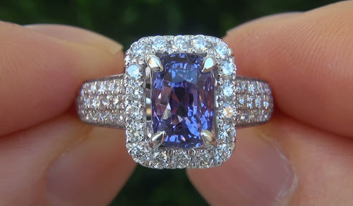 GIA 4.59 ct UNHEATED Natural VVS Color Change Sapphire Diamond 14k Gold Ring