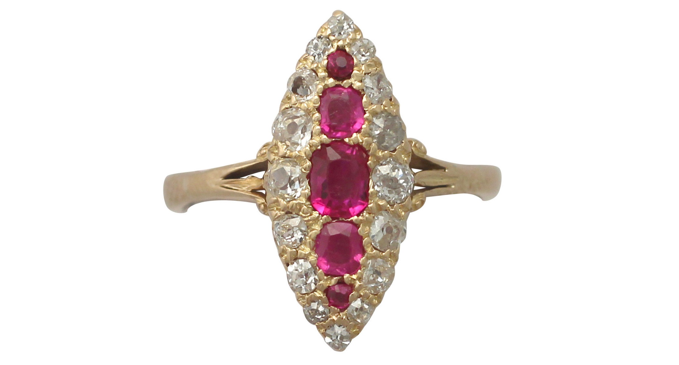 0.62ct Ruby & 0.46ct Diamond, 18ct Yellow Gold Marquise Ring - Antique