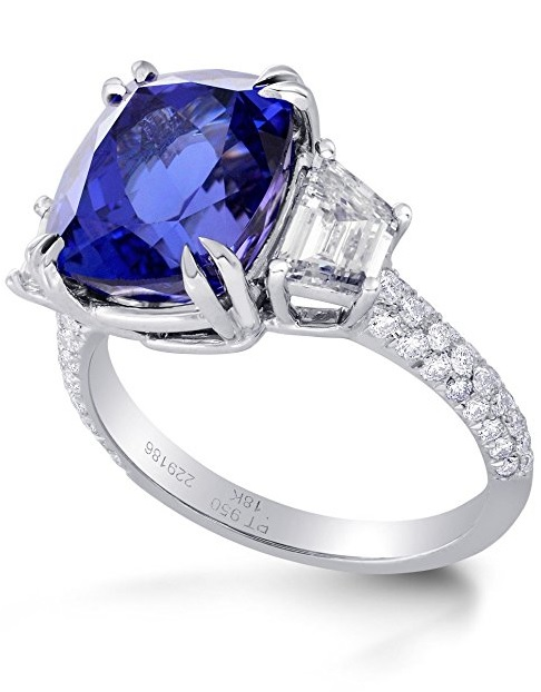 7.8Cts Tanzanite Side Diamonds Engagement 3 Stone Ring Set in Platinum