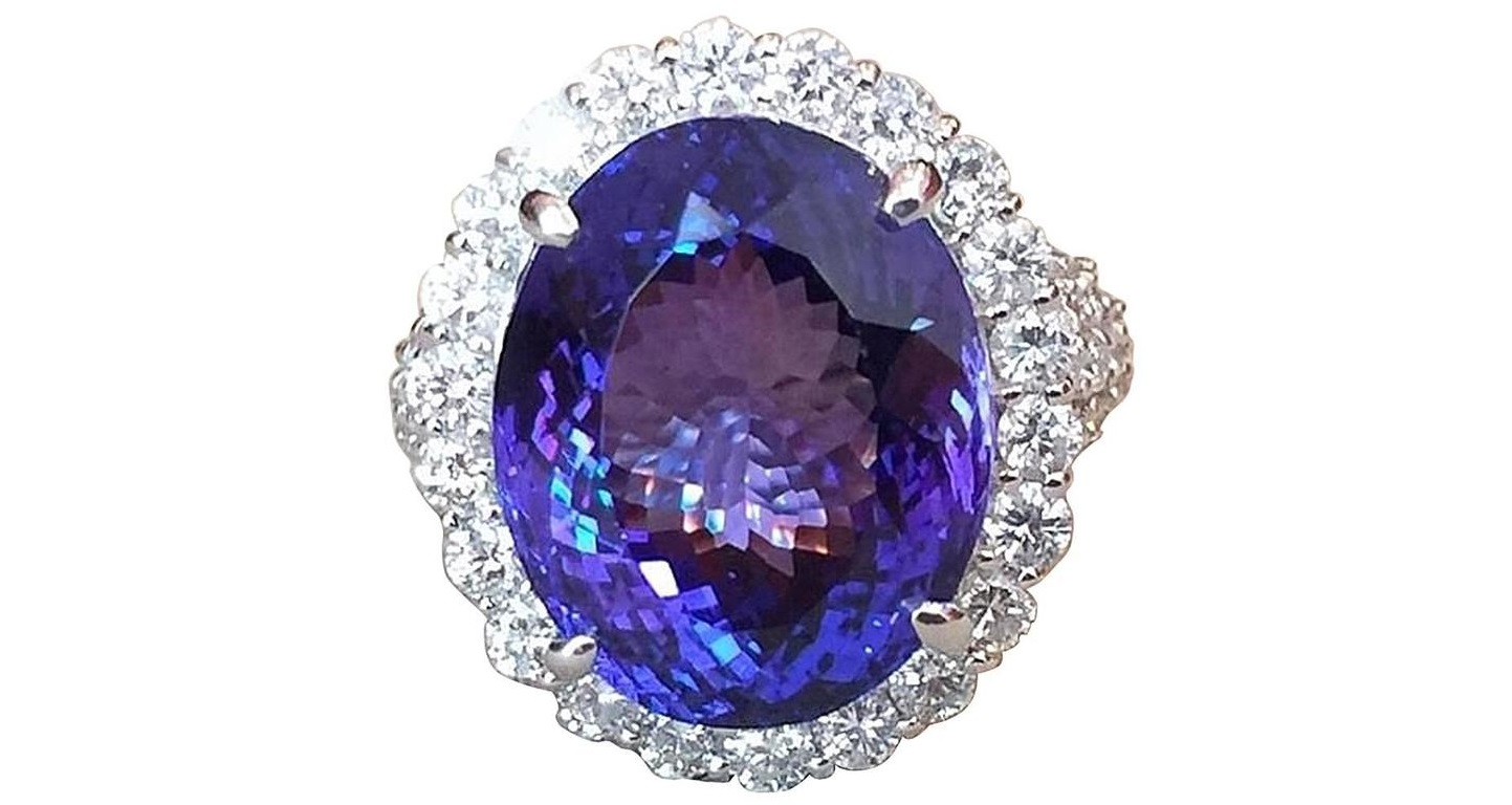 certified ring tanzanite gia gold diamond halo double vaa white engagement