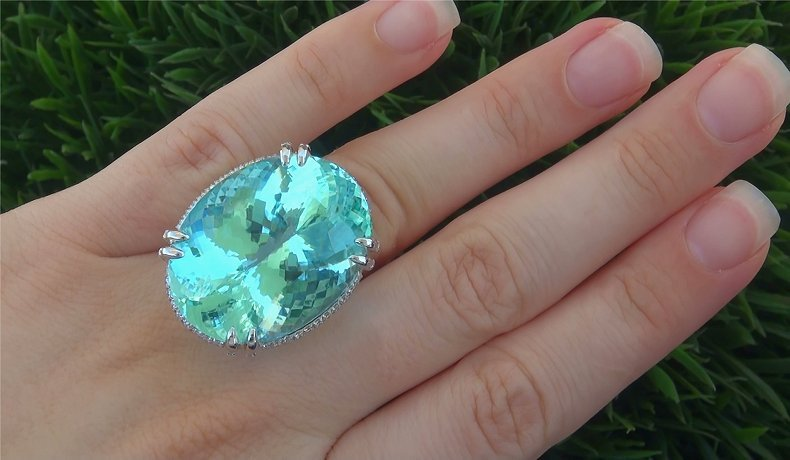 GIA Certified 62.12 ct FLAWLESS Paraiba Tourmaline Diamond PLATINUM Estate Ring