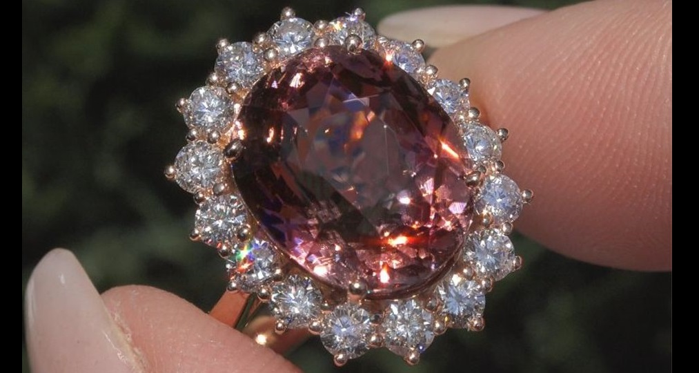 GIA 11.03 ct Natural VS Pink Tourmaline and Diamond 18k Rose Gold Estate Ring