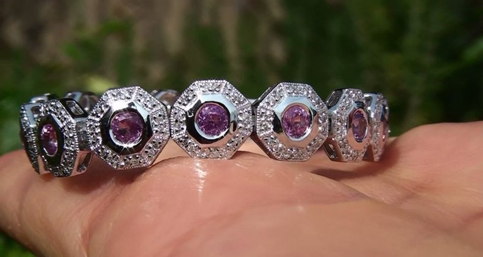 Estate 7.18 ct Natural VS Pink Sapphire Diamond 14k Gold Gold Tennis Bracelet