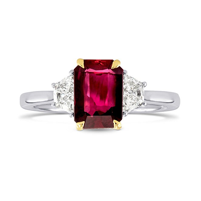 2.3Cts Ruby Side Diamonds Engagement 3 Stone Ring Set in 18K White Yellow Gold