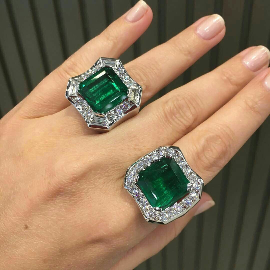 Gorgeous Emerald and Diamond Rings by Takat New York