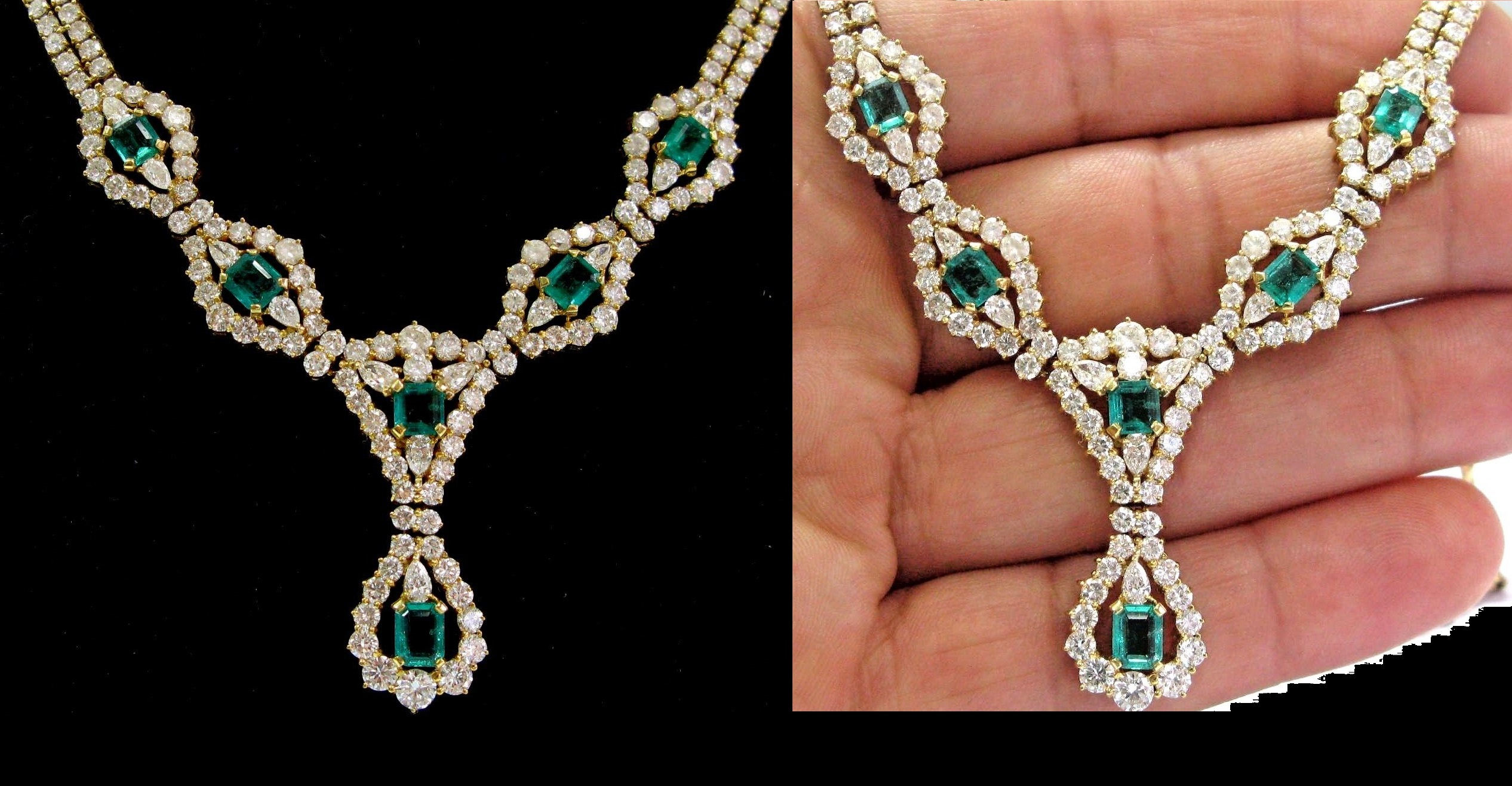 "18Kt Gem Colombian Green Emerald & Diamond Yellow Gold Necklace 16"" 11.20Ct"