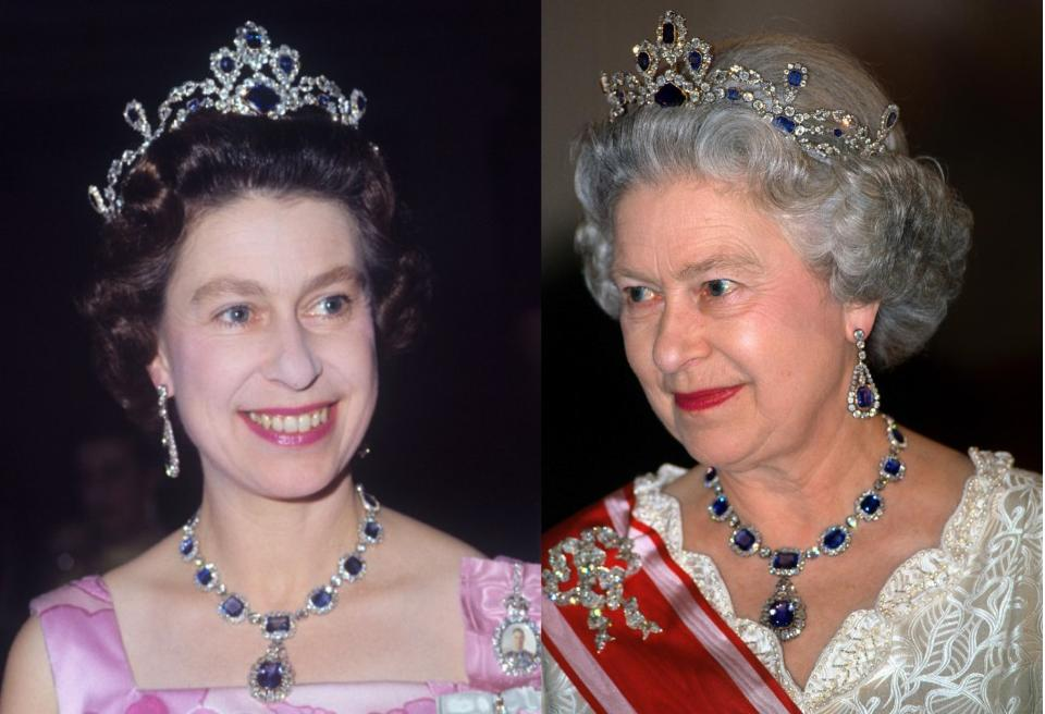 When Queen Elizabeth II was married in 1947, her father, King George VI, gifted her with the George VI Victorian Suite, a jewelry set consisting of a magnificent necklace and earrings composed of blue sapphires surrounded by diamonds. In 1963, the Queen commissioned a tiara and bracelet to match, which equaled in grandeur the decadent design of the set and the quality of the gemstones. The tiara is reportedly made from a necklace that originally belonged to Princess Louise of Belgium. Perhaps Elizabeth will bequeath her beautiful parure to the new princess, since she would be the next potential queen.