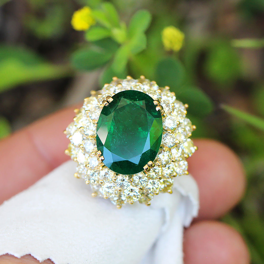 Vintage Certified Oval Emerald Waterfall Ring with Diamonds 18K Gold 14.70ctw