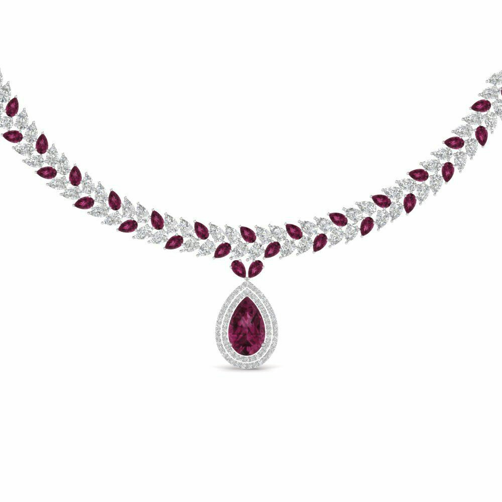 Pear Drop Exclusive Diamond and Gemstone Necklace DIAMOND NECKLACE WITH WHITE DIAMOND IN 18K WHITE GOLD