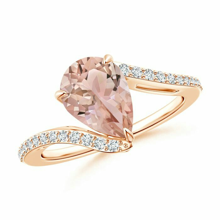 Solitaire Pear Morganite Bypass Ring with Diamond Accents